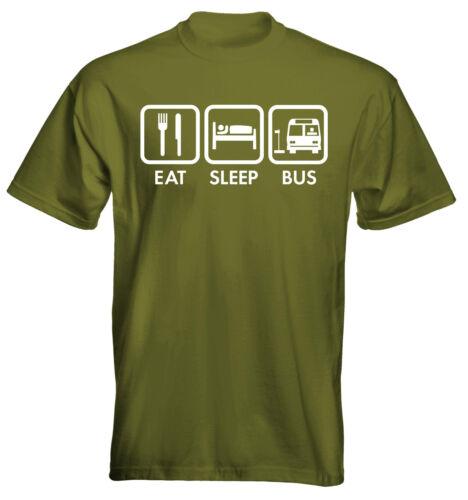 Velocitee Hombre Camiseta Comer Dormir Bus Driver tamaño y las opciones de colores