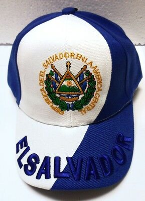 White & Blue Embroidered Embroidery Out Wear Adult Men Sun Hat Cap EL SALVADOR