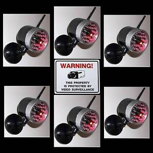 LOT OF FAKE DUMMY CAM CCTV SPY HOME SECURITY CAMERAS+LED LIGHT+WARNING STICKERS