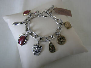 Lucky-Brand-Silver-Tone-Owl-amp-Red-Stone-Toggle-Charm-Bracelet