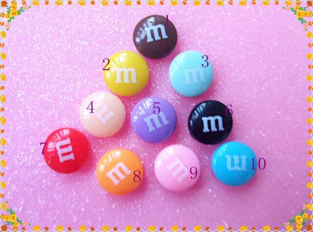 15pcs kawaii resin M bean chocolate cabochons 14mm DIY decoration