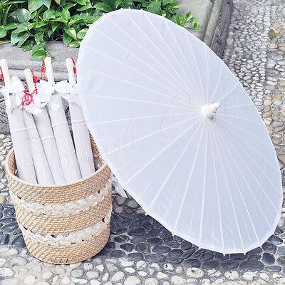 "White plain fabric bamboo Parasol / umbrella with ribbon wedding favor 33"" adult"