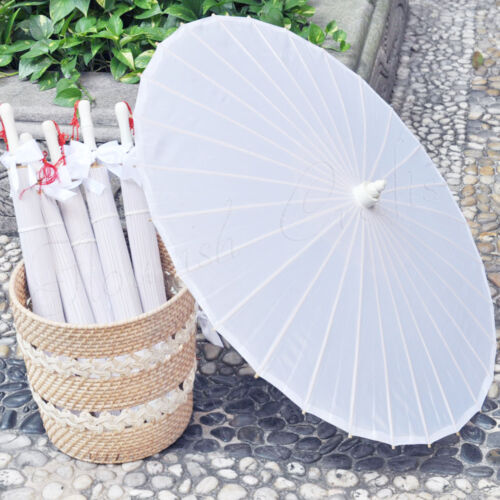 "White plain fabric bamboo Parasol / umbrella with ribbon wedding favor 33"" adult"