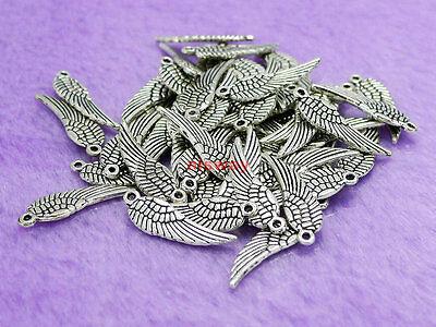 20 Pcs Tibetan Silver Wing Shape Charm Beads Pendant 12mm Jewelry Making