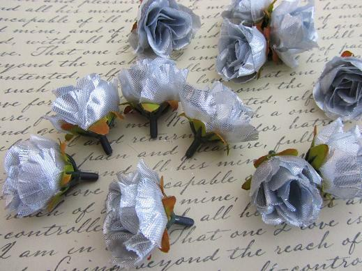 "24 Poly Silk Rose Rosebud 1.5"" Flower Floral Craft/wedding/bow/Trim H299-Silver"