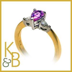 Ladies-18ct-Gold-0-69ct-3-Stone-Ruby-amp-Diamond-Ring-SIZE-H-Ref-420-SALE