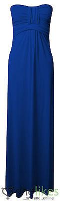 Womens Long Jersey Dress Ladies Knot Front Strapless Boobtube Maxi Dress UK 8-14