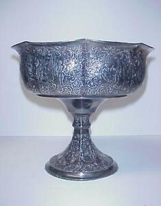 Antique Derby Silver Co Silverplate Chased Pedestal