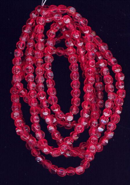300 Vintage ENGLISH CUT RUBY Glass Beads-4m #217