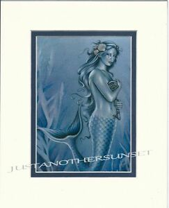 Jessica-Galbreth-Matted-Print-THE-KEY-Skeleton-Mermaid-Ocean-Sea-Blue-Wall-Art