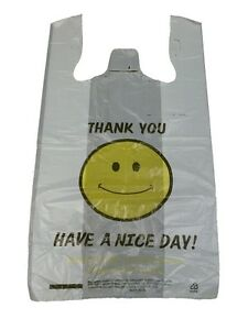 Large 1 6 bbl t shirt happy face smiley bags 11 5 x 6 5 x for Jumbo t shirt bags