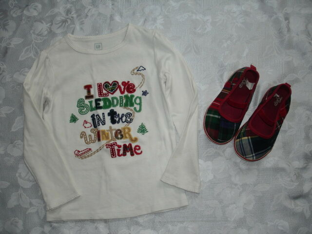 Girls BABY GAP Shirt 5T & Plaid Shoes Sz 11 Sledding in the Winter Time Holiday