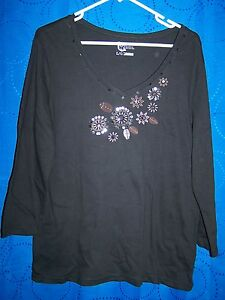 Womens-CLASSIC-ELEMENTS-Black-Floral-Embroidery-Beads-Sequins-Size-L