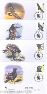 WORLD WILDLIFE FUND 2007 GEORGIA HAWK SET OF FOUR FIRST DAY COVERS