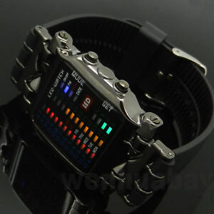 Gift-Box-Mix-Color-LED-Watch-Digital-Black-Rubber-Fashion-Sport-Mens-Boys-L8806