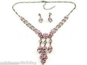 145a-Med-Pink-Victorian-Swarovski-Crystal-Elements-Necklace-Set