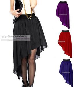 New-Womens-Ladies-Chiffon-Skirt-Cute-Chiffon-Asym-Hem-Skirt-XS-3XL-GF0656