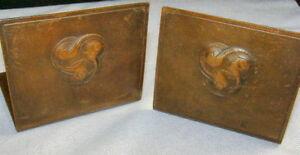ARTS-CRAFTS-Copper-BOOKENDS-Trefoil-Birds-Design-J-Brennan