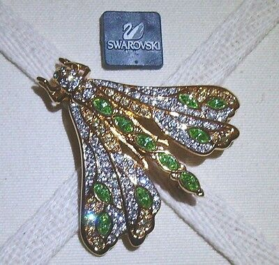 Signed Swan Gold Plated Swarovski Green & Clear Crystal Dragonfly Brooch Pin