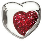 Authentic Miss Chamilia Glitter Heart Red Bead 2050-0450 - Only Fits Miss Chamilia for Kids