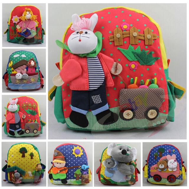 Manual Infant Backpack Kindergarten Children's Double Shoulder Pack Multicolor