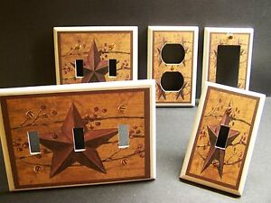 Country Star Rustic Primative Folk Art Light Switch Or