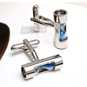 Unique-Mens-Cufflinks-Rare-Hour-Glass-Shape-Cuff-Links-Blue