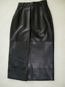 6f9f6bc1 Details about 80's VINTAGE & SEXY GIANNI VERSACE NAVY LEATHER PENCIL SKIRT  40 (4 - 6) NEW