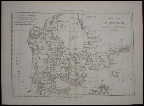 1780 Original Rigobert Bonne Map Denmark Jylland Nord