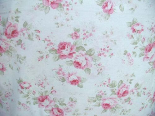 Durham Quilt Wow! Pink Cabbage Roses  Antique White Cotton Fabric  HTF