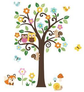 Giant-Scroll-Flowers-Tree-amp-Animals-Wall-Sticker-Decals-fox-owls-birds-butterfly