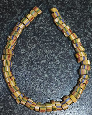 Antique Yellow Venetian Beads With Stripes Traded Into Africa