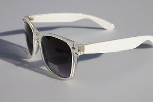 Clear-White-frame-Sunglasses-with-gradient-lens-80-039-s-Retro-Vintage