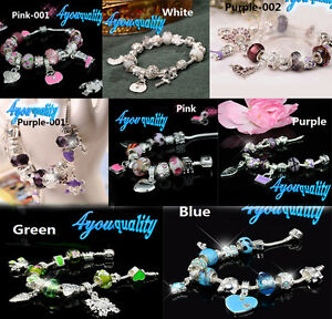 Silver-Finished-Bracelet-Crystal-Heart-12-19-Charms-10-styles-For-Women-Girls