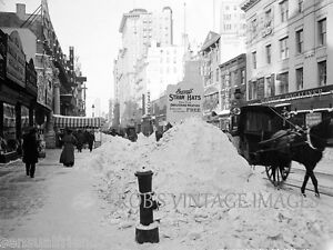New York City Broadway After Snow Storm 1899 Vintage