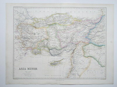 1874 Map Ancient Asia Minor Cyprus Turkey Syria Hand Colouring Large Map Smith