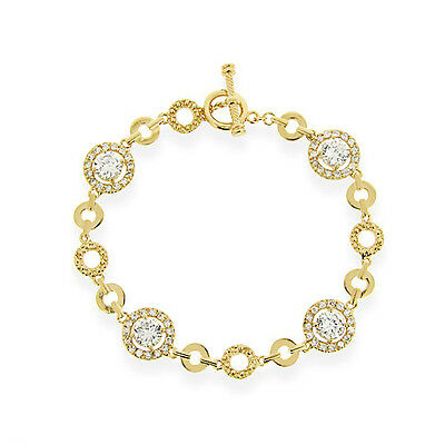 18K Gold Over 925 Silver CZ Circle Link Bracelet