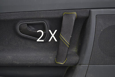 yellow stitch FITS SMART ROADSTER 03-05 2X DOOR HANDLE LEATHER COVERS