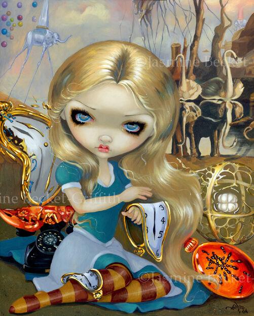 Jasmine Becket-Griffith art print SIGNED Alice in a Dali Dream wonderland clocks