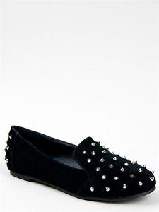NEW-NATURE-BREEZE-Women-Hot-Edgy-Spike-Slip-On-Loafer-Flat-Shoe-sz-Black-leila11