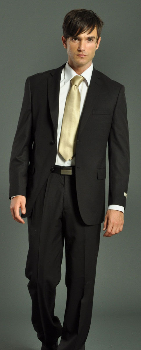 Details About Classic Mens Solid Black Suits 2 Pc Wedding Groom Homecoming Winter Formal Dance