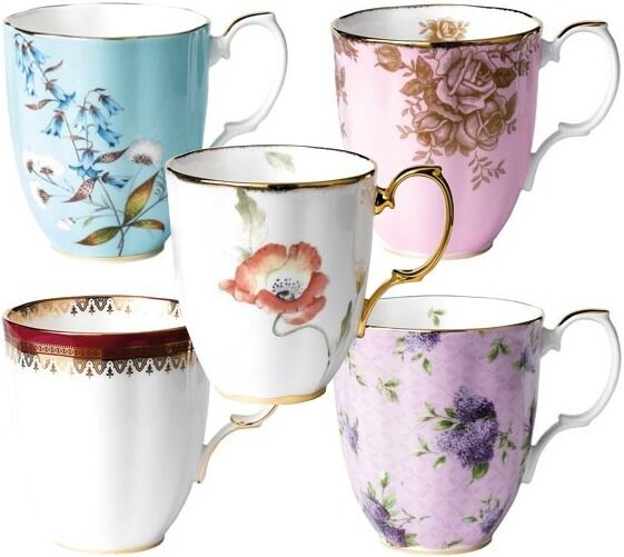 100 YEARS OF ROYAL ALBERT 5 x MUGS 1950-1990 - BRAND NEW IN BOXES