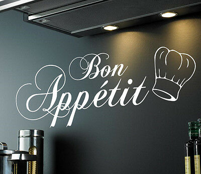BON APPETIT WALL DECAL | Inc Chef Hat | STICKER VINYL ART QUOTE KITCHEN | WQ93