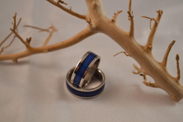Edelstahl Ring Bandring Mittelring in Trendfarben Fingerring Colorblocking Band