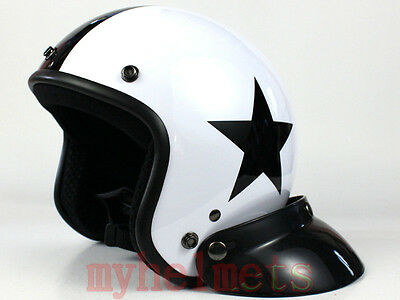 White/Black Open Face Harley Helmet Motorcycle Scooter (Star)