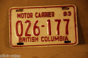 Vintage British Colombia Motor Carrier License Plate From 1983 026 177 Ebay