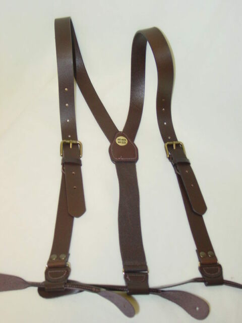 brown leather 1 inch wide Old West victorian firefly mens suspenders braces