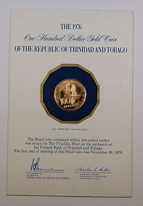 1976-Trinidad-amp-Tobago-Gold-100-Proof-Coin-First-Gold-Coin-Issued-by-Nation