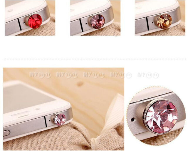 3.5mm Crystal Diamond Anti Dust Dustproof Earphone Plug Stopper for iPhone 4 4s