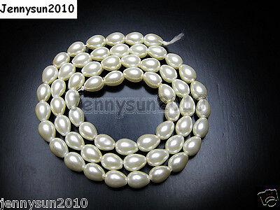 Top Quality Czech Glass Pearl Pear Teardrop Loose Beads 15.5'' White Cream Black